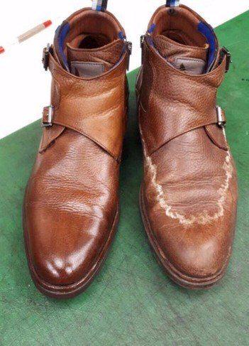 Schoenen van leer schoonmaken met stoom